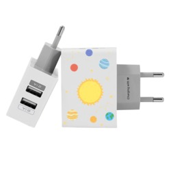 Dual Usb Wall Charger for iPhone and Android - Solar System