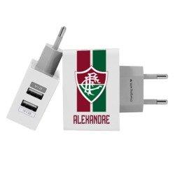 Carregador Personalizado iPhone/Android Duplo USB de Parede Gocase - Fluminense - Escudo e Listras