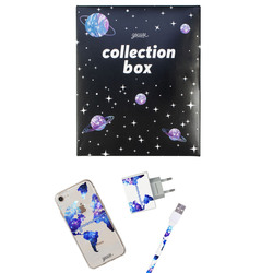 Kit World Universe Map Clean Handwritten (case + Apple cable + wallcharger + Space Travel Limited collection box)
