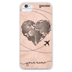 Funda World Map Heart Vintage Handwritten