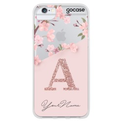 Classical Rose initial Glitter Phone Case