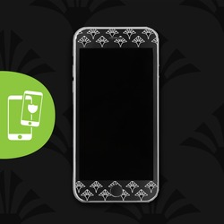 Geometric Flowers - Black Screen Protector - Tempered Glass