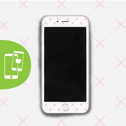 Pink X's - White Screen Protector - Tempered Glass