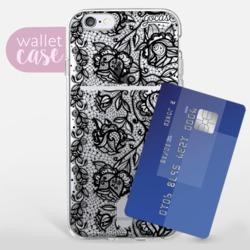 Flower Lace Black - Wallet Phone Case