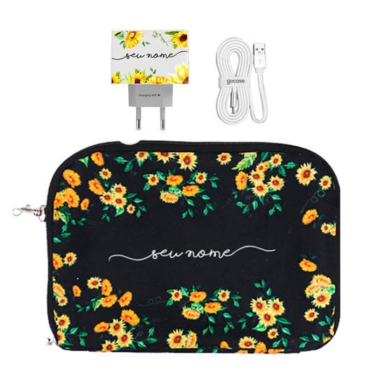 Kit Próprio Sol Black (Cabo USB Simples + Carregador Duplo + Porta Acessórios)