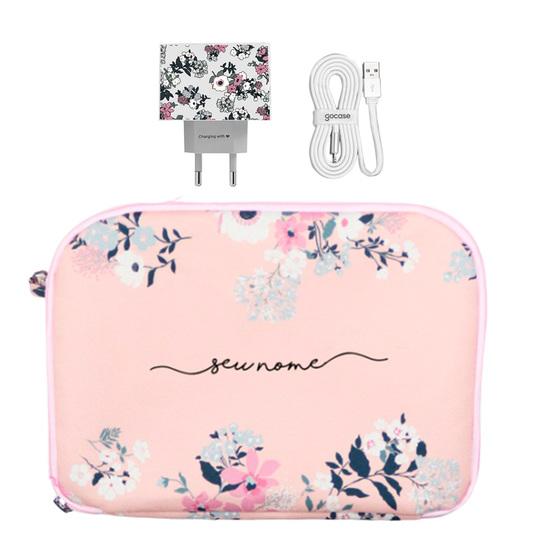 Kit Bem Floral (Cabo iPhone Lightning Simples + Carregador Duplo + Porta Acessórios)