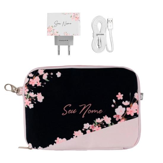Kit Classical Rose Black (Cabo iPhone Lightning Simples + Carregador Duplo + Porta Acessórios)