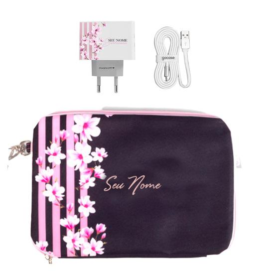 Kit Floral Lines (Cabo USB + Carregador Duplo + Porta Acessórios)