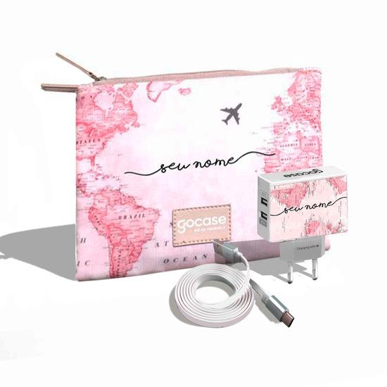 Kit Porta Acessórios Duplo - Mapa Mundi Rosa (Cabo USB Simples + Carregador Duplo + Porta Acessórios Duplo)