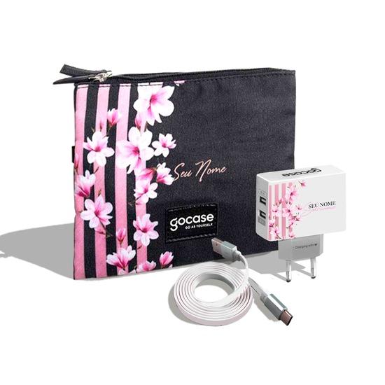 Kit Porta Acessórios Duplo - Floral Lines (Cabo Type C Simples + Carregador Duplo + Porta Acessórios Duplo)