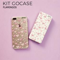 Kit Gocase Flamingos (Capinha + Carregador Portátil de 10000mAh)