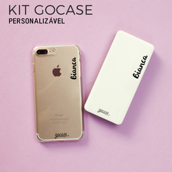 Kit Gocase Personalizável (Capinha Com Nome + Carregador Portátil de 10000mAh)