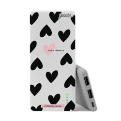 Power Bank Slim Portable Charger (5000mAh) - Black Hearts