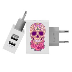 Customized Dual Usb Wall Charger for iPhone and Android - Calavera
