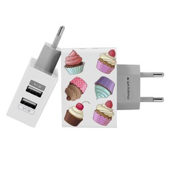 Customized Dual Usb Wall Charger for iPhone and Android - Cupcakes