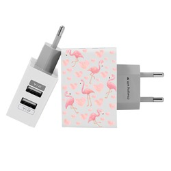 Customized Dual Usb Wall Charger for iPhone and Android - Flamingos