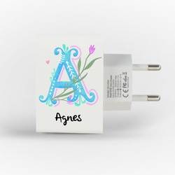Customized Dual Usb Wall Charger for iPhone and Android - Floral Alphabet