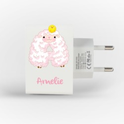Customized Dual Usb Wall Charger for iPhone and Android - Customized Dual Usb Wall Charger for iPhone and Android - Sheep Alphabet