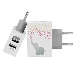 Customized Dual Usb Wall Charger for iPhone and Android - Elephant Star