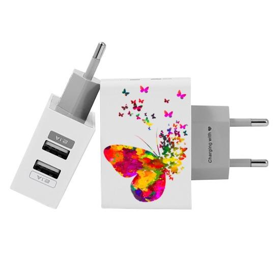 Carregador Personalizado iPhone/Android Duplo USB de Parede Gocase - Borboletas Flutuantes