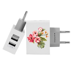 Customized Dual Usb Wall Charger for iPhone and Android - Flower