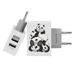 Customized Dual Usb Wall Charger for iPhone and Android - Cute Pandas