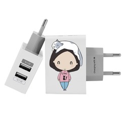 Customized Dual Usb Wall Charger for iPhone and Android - Love Cats