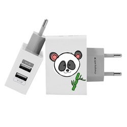 Customized Dual Usb Wall Charger for iPhone and Android - Panda Things