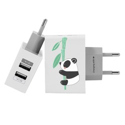 Customized Dual Usb Wall Charger for iPhone and Android - Panda