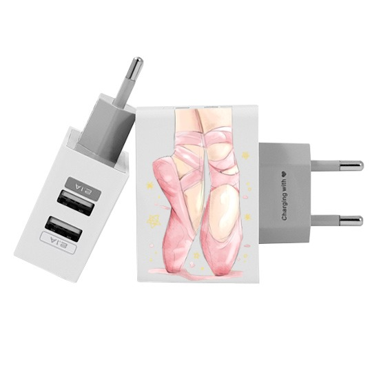 Customized Dual Usb Wall Charger for iPhone and Android - Standing On Toes